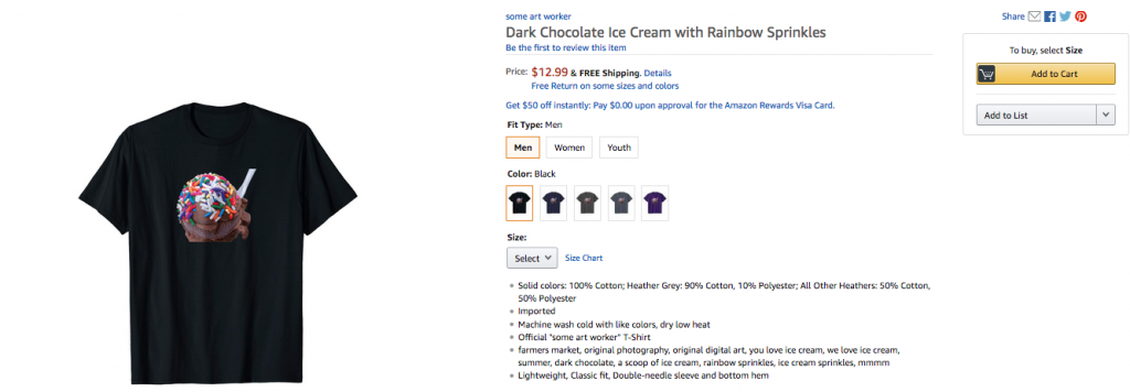 Dark Chocolate Ice Cream with Rainbow Sprinkles t-shirt by someartworker on Merch By Amazon