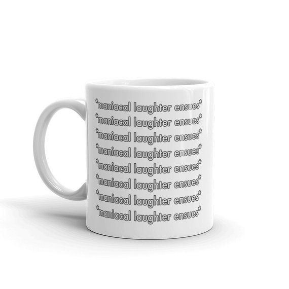 *maniacal laughter ensues* White Ceramic Coffee Mug by someartworker