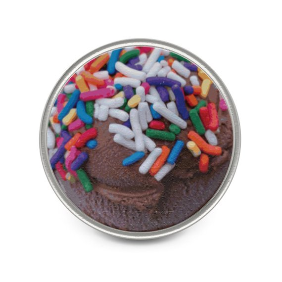 "Warm Thoughts - Dark Chocolate Ice Cream with Rainbow Sprinkles 1"" and/or 1.5"" Metal (Pewter) Pin by someartworker"