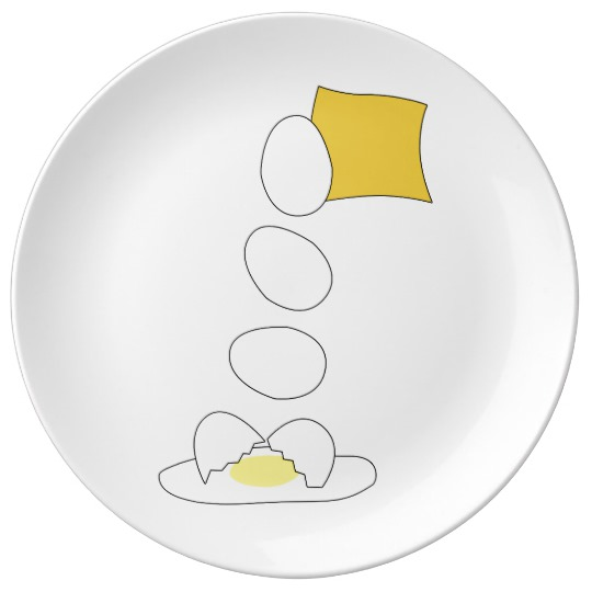 Food Fight - Cheese vs Egg. Dinner Plate by someartworker on Zazzle