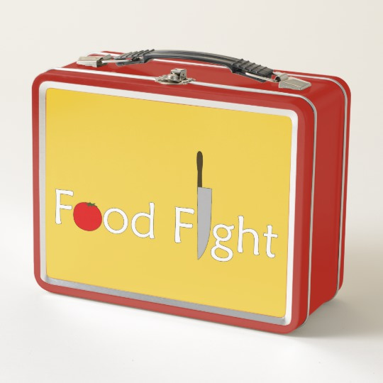 Food Fight. Metal Lunch Box by someartworker on Zazzle