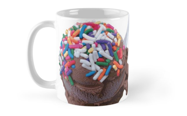 Warm Thoughts - Dark Chocolate Ice Cream with Rainbow Sprinkles Mugs by someartworker on Redbubble