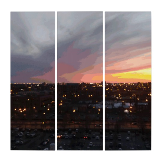 Sunset - April 6, 2018 7:34PM. Triptych by someartworker on Zazzle