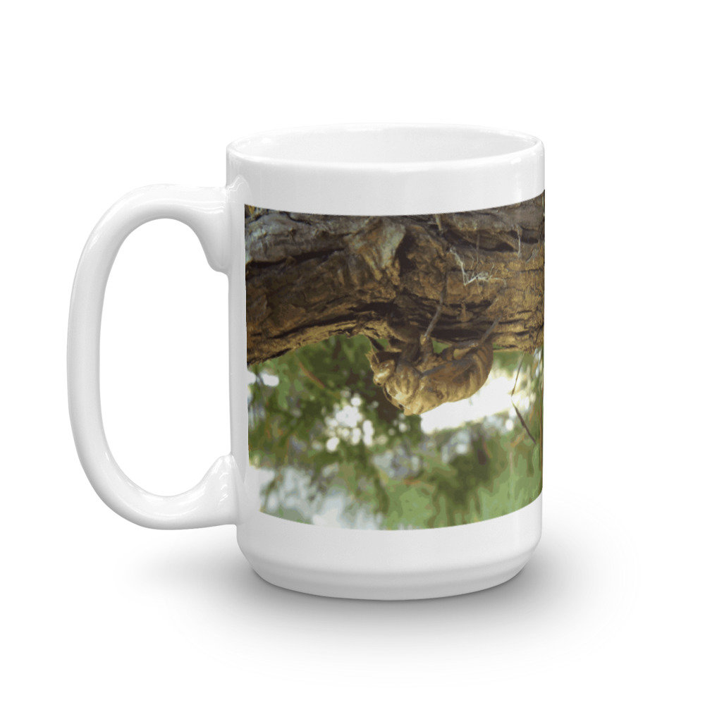 Cicada shell. It was in a hurry. Mug by someartworker on Etsy
