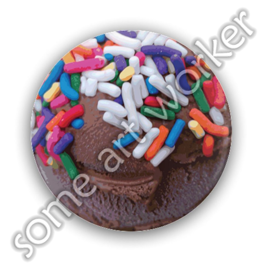 "Warm Thoughts - Dark Chocolate Ice Cream With Rainbow Sprinkles 1.25"" or 2.25"" Pinback Button by someartworker on Etsy"