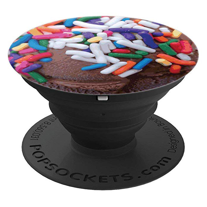 Dark Chocolate Ice Cream with Rainbow Sprinkles - PopSockets Grip and Stand for Phones and Tablets by someartworker on Merch by Amazon