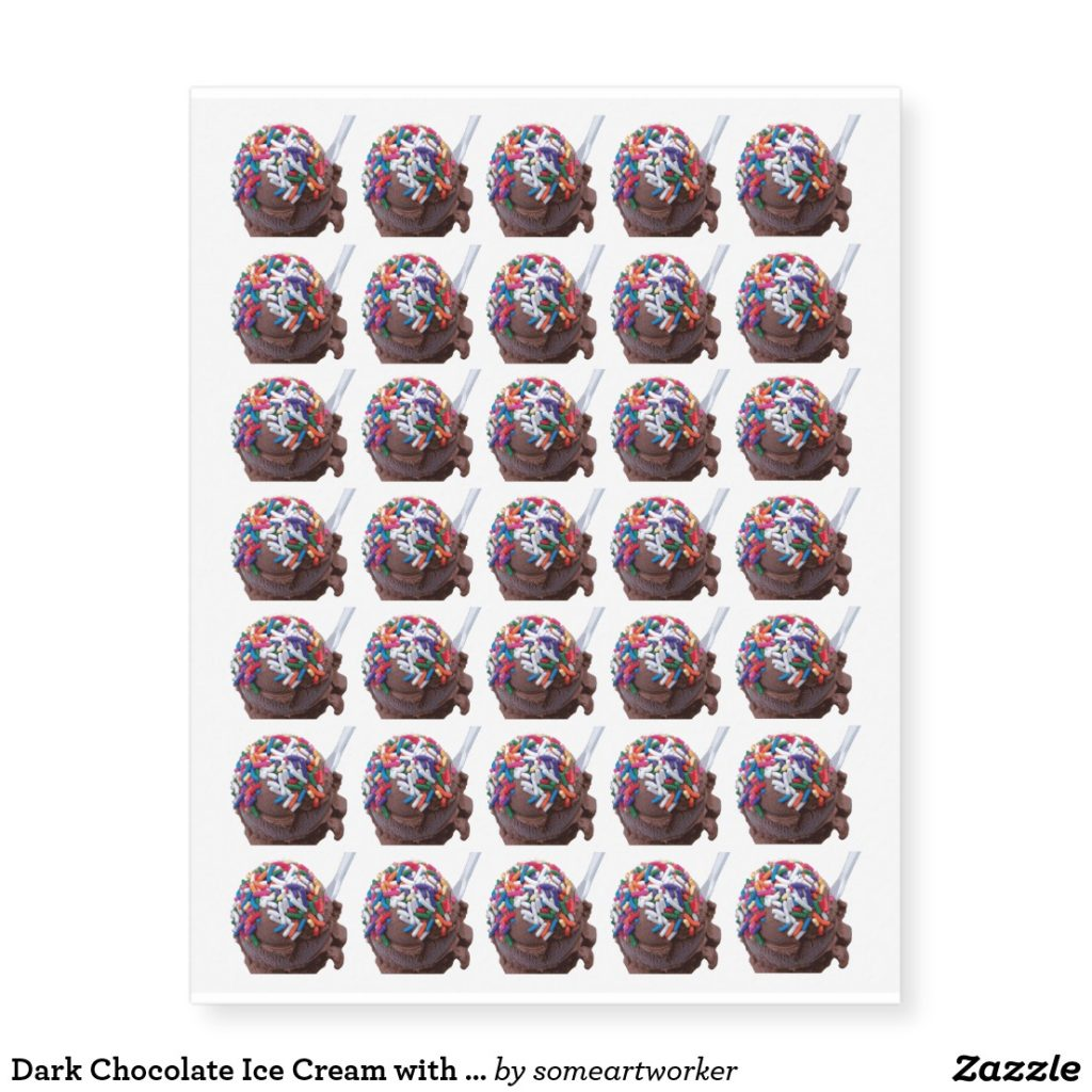 Dark Chocolate Ice Cream with Rainbow Sprinkles Temporary Tattoos by someartworker on Zazzle