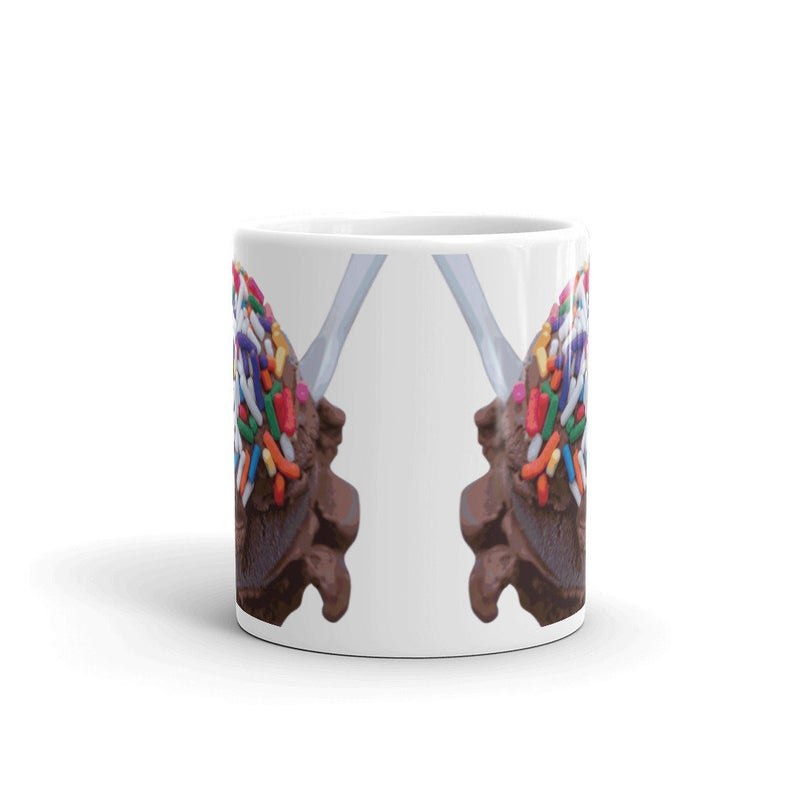Warm Thoughts - Dark Chocolate Ice Cream with Rainbow Sprinkles Mug⁣ by someartworker on Etsy