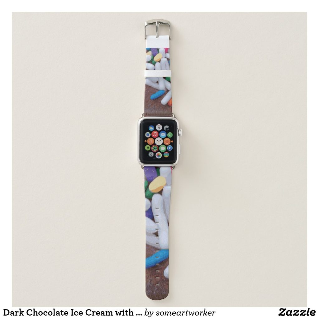 Dark Chocolate Ice Cream with Rainbow Sprinkles Apple Watch Band by someartworker on Zazzle