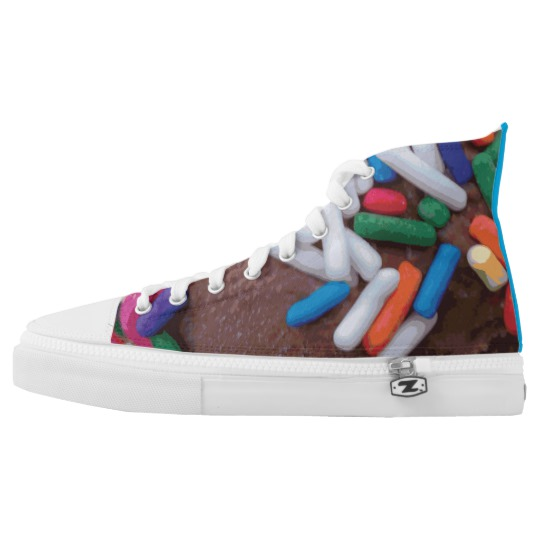 Dark Chocolate Ice Cream with Rainbow Sprinkles High Top Sneakers by someartworker on Zazzle