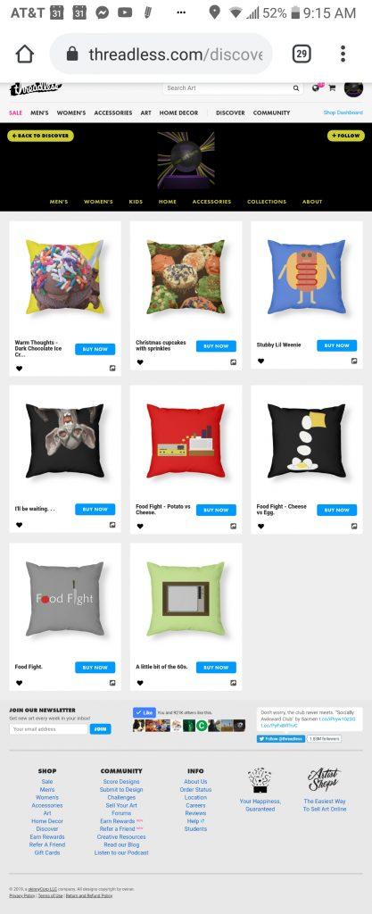 someartworker's shop – shower throw pillows sale on Threadless