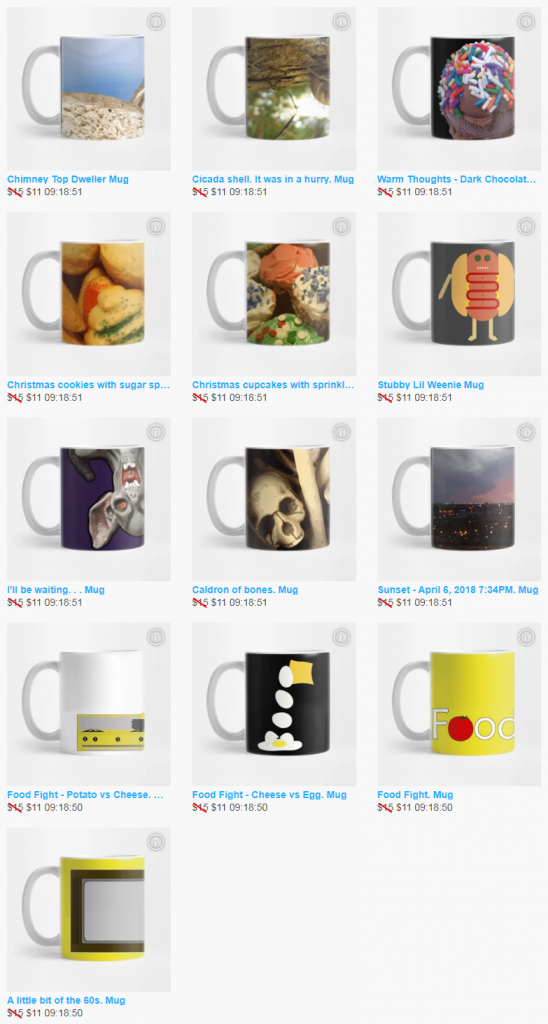 someartworker's shop on TeePublic sale - mugs spotlight