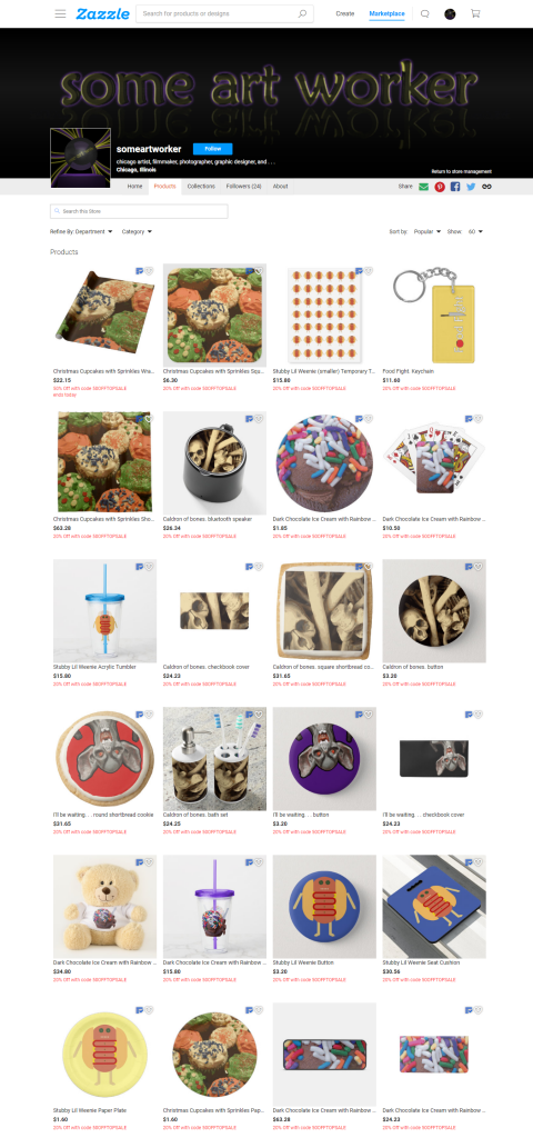 someartworker's shop on Zazzle sale