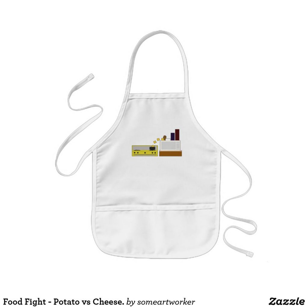 Food Fight - Potato vs Cheese kids apron by someartworker on zazzle