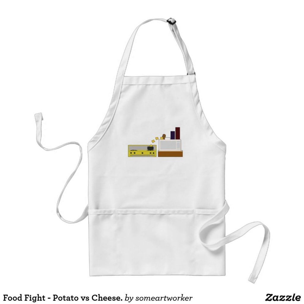 Food Fight - Potato vs Cheese standard apron by someartworker on zazzle