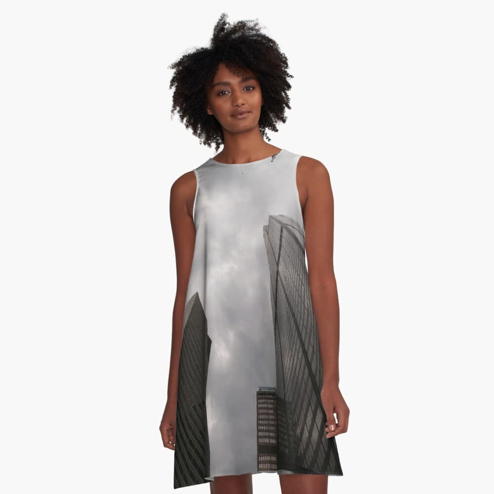 Tower in the city a-line dress on Redbubble by someartworker