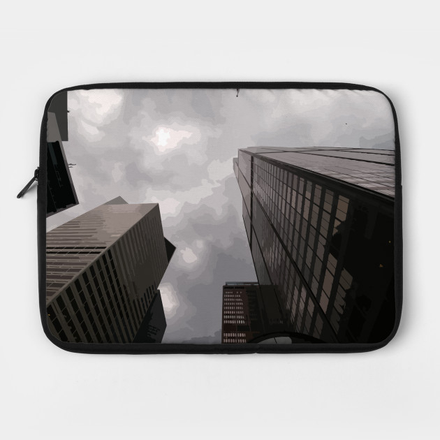 Tower in the city laptop case by someartworker on Teepublic