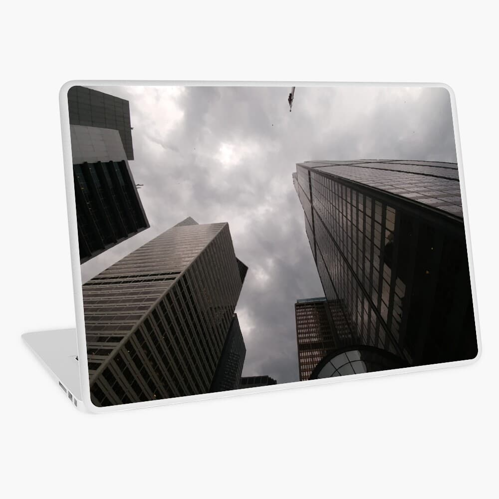Tower in the city laptop skin on Redbubble by someartworker