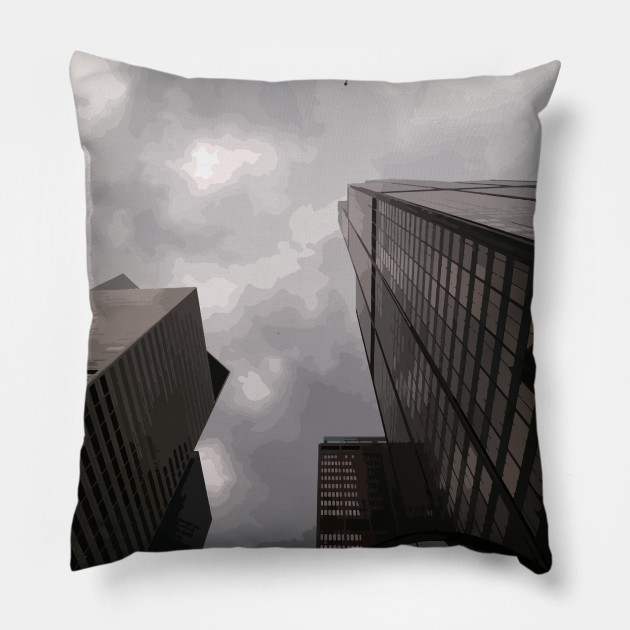 Tower in the city pillow by someartworker on Teepublic