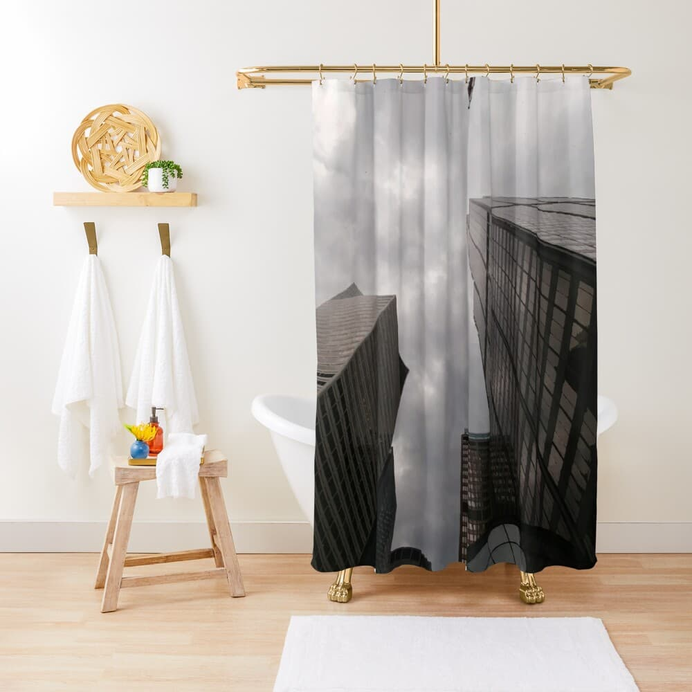 Tower in the city shower curtain on Redbubble by someartworker