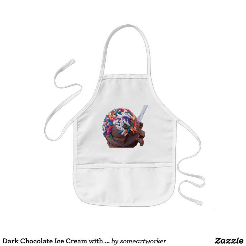 Dark Chocolate Ice Cream with Rainbow Sprinkles kids apron by someartworker on Zazzle