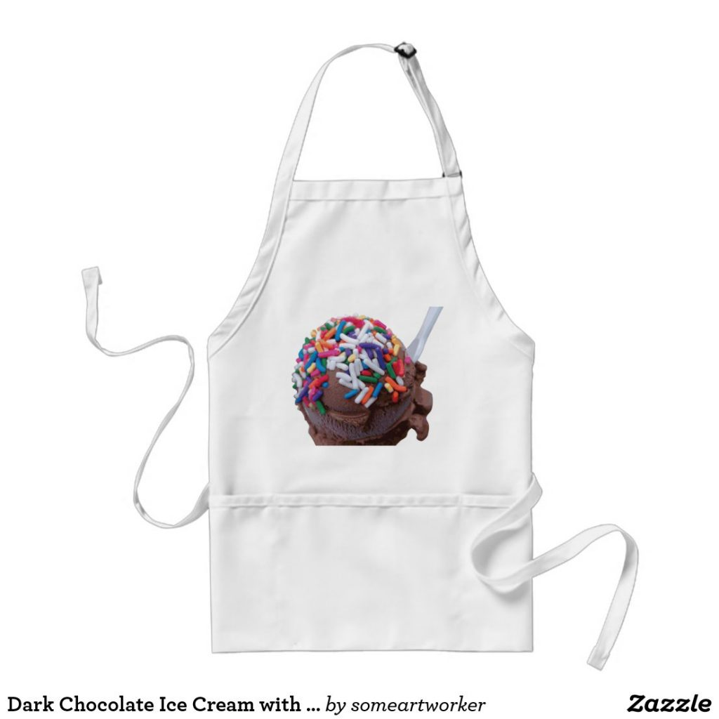 Dark Chocolate Ice Cream with Rainbow Sprinkles standard apron by someartworker on Zazzle