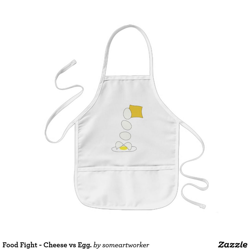 Food Fight - Cheese vs Egg kid's apron by someartworker on zazzle