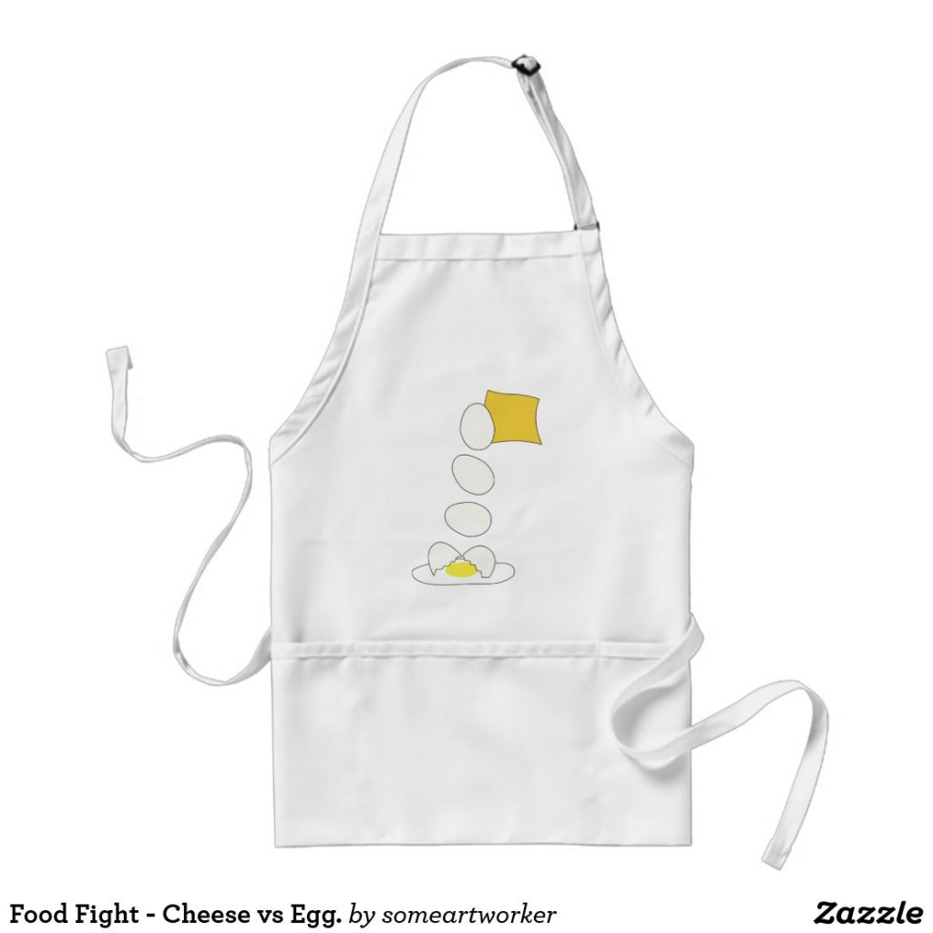Food Fight - Cheese vs Egg standard apron by someartworker on zazzle