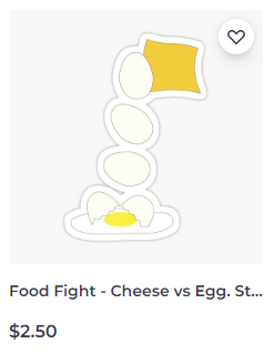 Food Fight - Cheese vs Egg sticker on Redbubble by someartworker