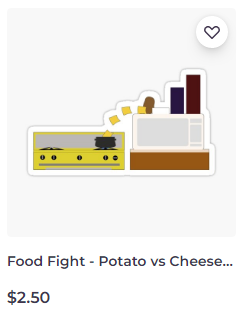 Food Fight - Potato vs Cheese sticker on Redbubble by someartworker