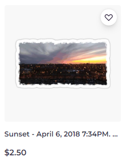 Sunset – April 6, 2018 7:34PM sticker on Redbubble by someartworker
