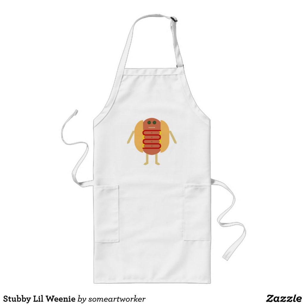 Stubby Lil Weenie long apron by someartworker on zazzle