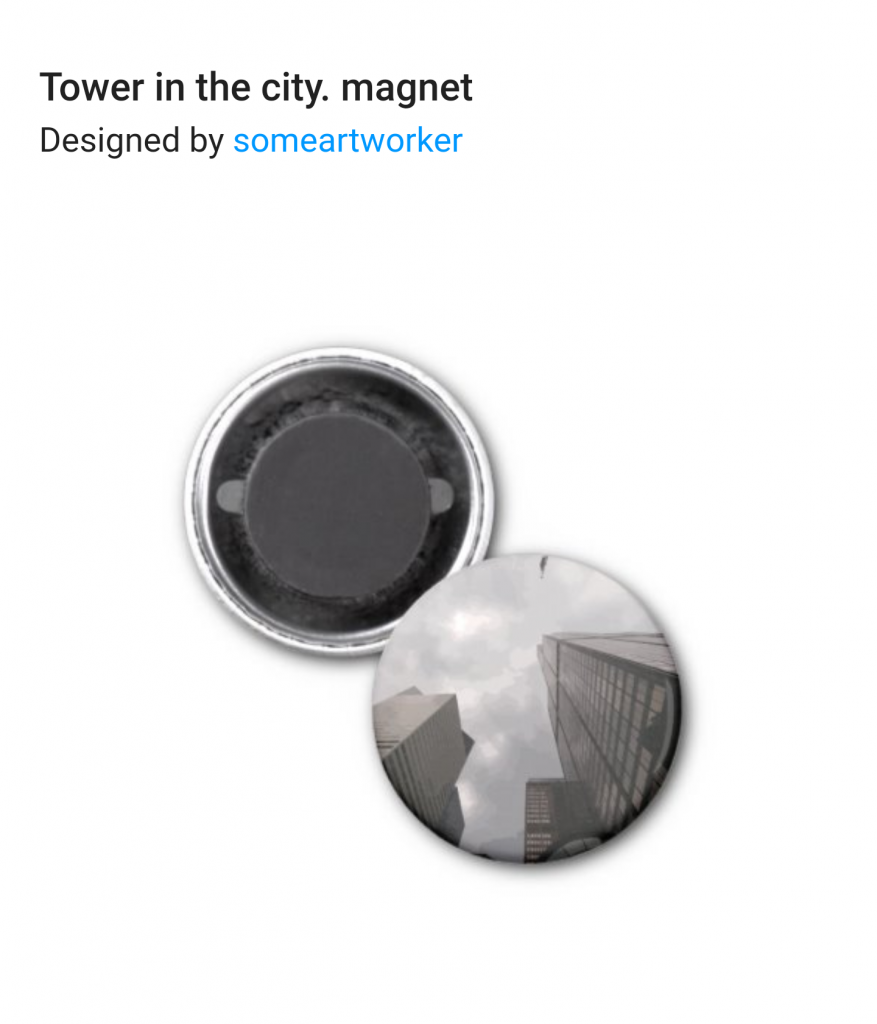 Tower in the city magnet on Zazzle by someartworker