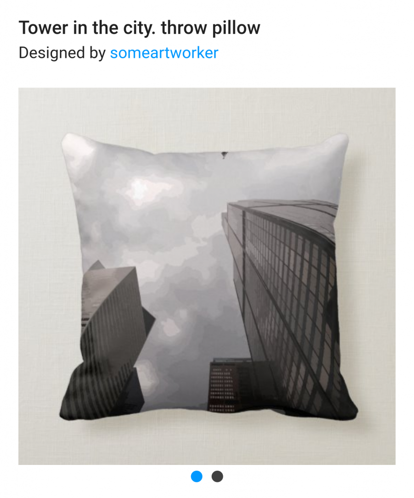 Tower in the city throw pillow on Zazzle by someartworker
