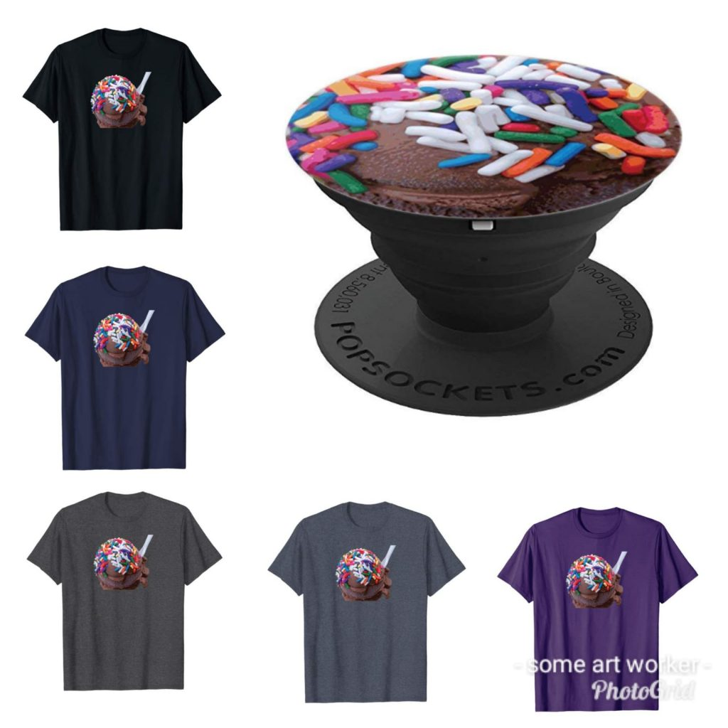 Warm Thoughts Dark Chocolate Ice Cream with Rainbow Sprinkles on Merch by Amazon by someartworker