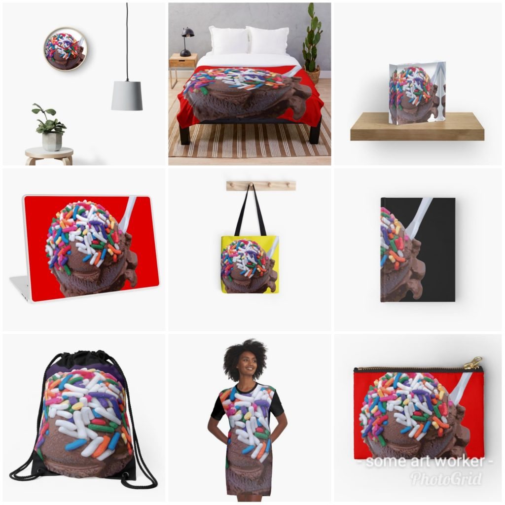 Warm Thoughts Dark Chocolate Ice Cream with Rainbow Sprinkles on Redbubble by someartworker