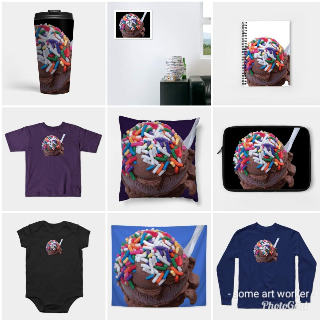 Warm Thoughts Dark Chocolate Ice Cream with Rainbow Sprinkles on Teepublic by someartworker