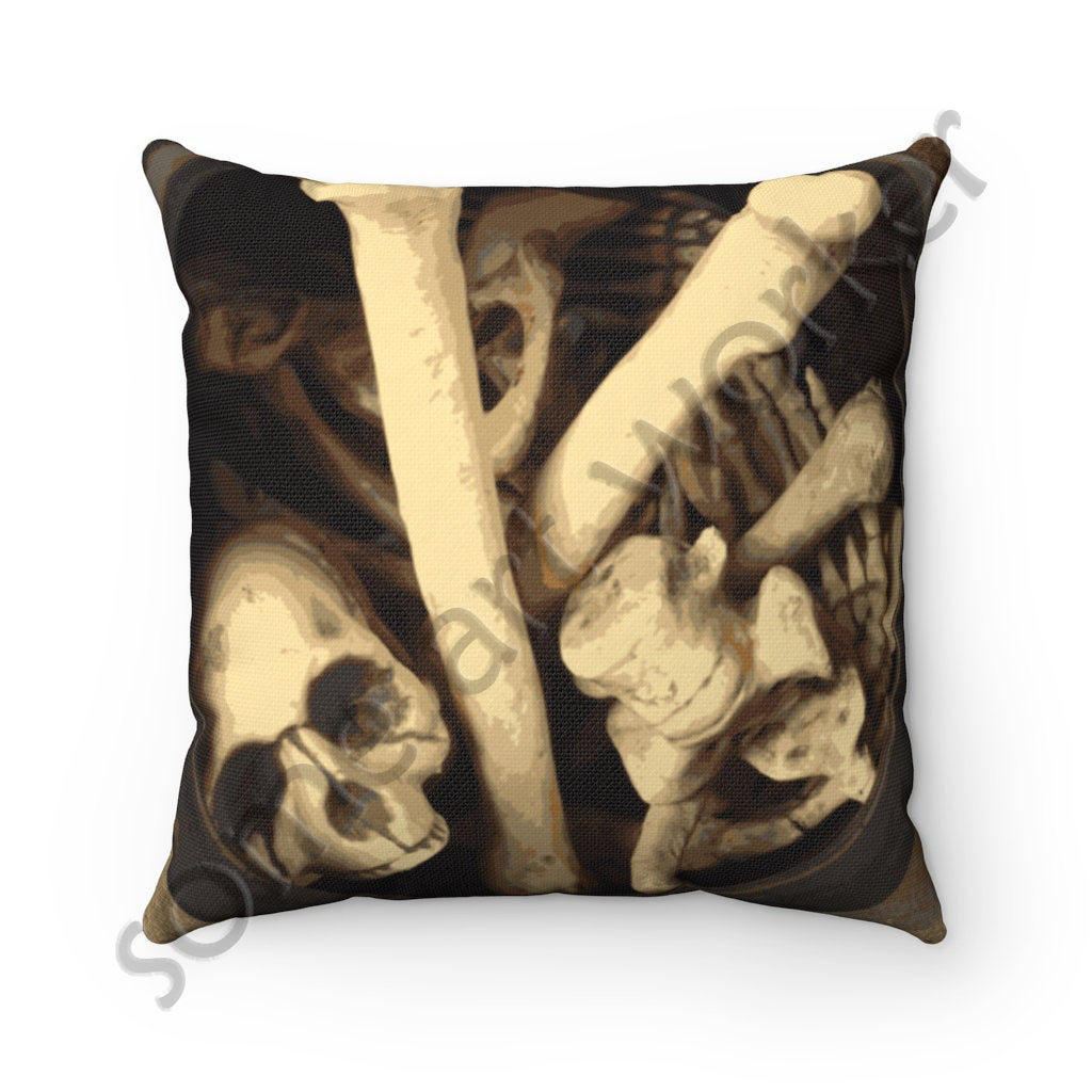 Caldron of bones. Spun Polyester Square Pillow front on Etsy with watermark by someartworker