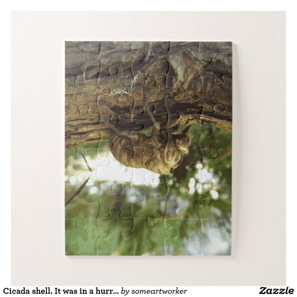 Cicada shell. It was in a hurry. (Oversized Pieces) Puzzle on Zazzle by someartworker