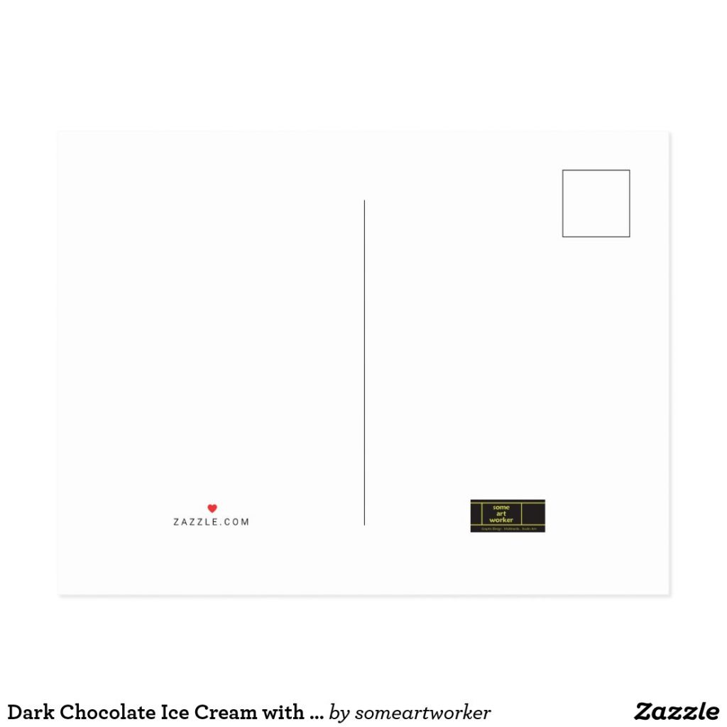Dark Chocolate Ice Cream with Rainbow Sprinkles Postcard Back on Zazzle by someartworker