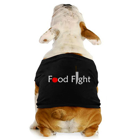 Food Fight dog t-shirt on NeatoShop by someartworker