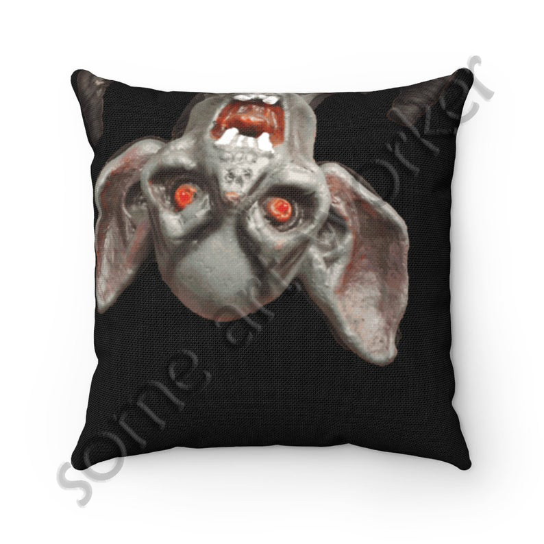 I'll be waiting. . . Spun Polyester Square Pillow (black background) back on Etsy with watermark by someartworker