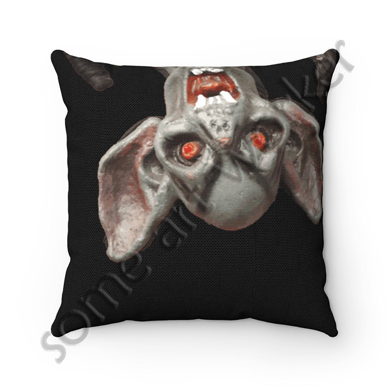 I'll be waiting. . . Spun Polyester Square Pillow (black background) front on Etsy with watermark by someartworker