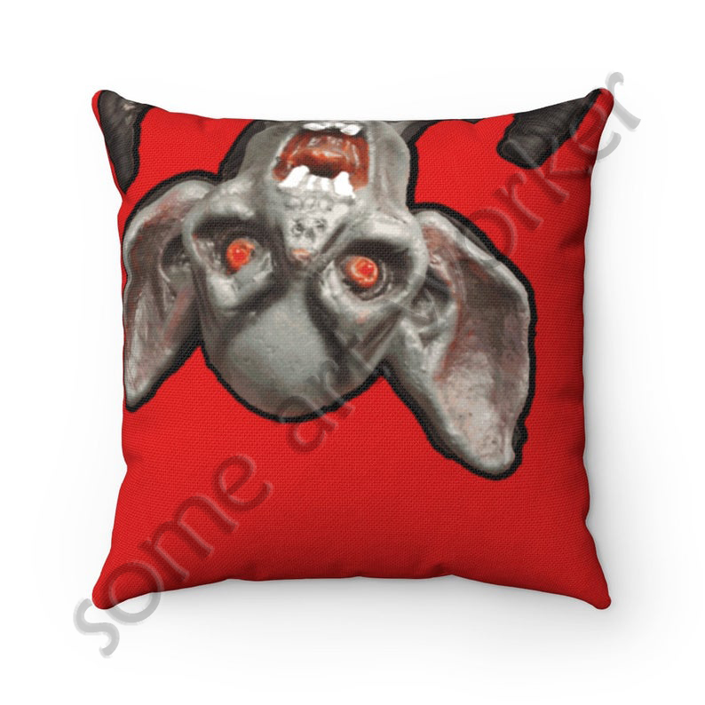 I'll be waiting. . . Spun Polyester Square Pillow (bright red background) back on Etsy with watermark by someartworker