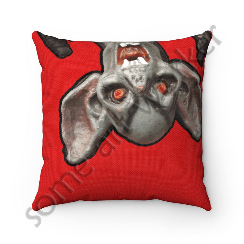 I'll be waiting. . . Spun Polyester Square Pillow (bright red background) front on Etsy with watermark by someartworker