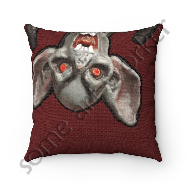 I'll be waiting. . . Spun Polyester Square Pillow (dark red background) back on Etsy with watermark by someartworker