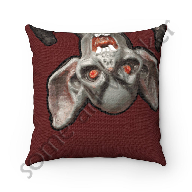 I'll be waiting. . . Spun Polyester Square Pillow (dark red background) front on Etsy with watermark by someartworker