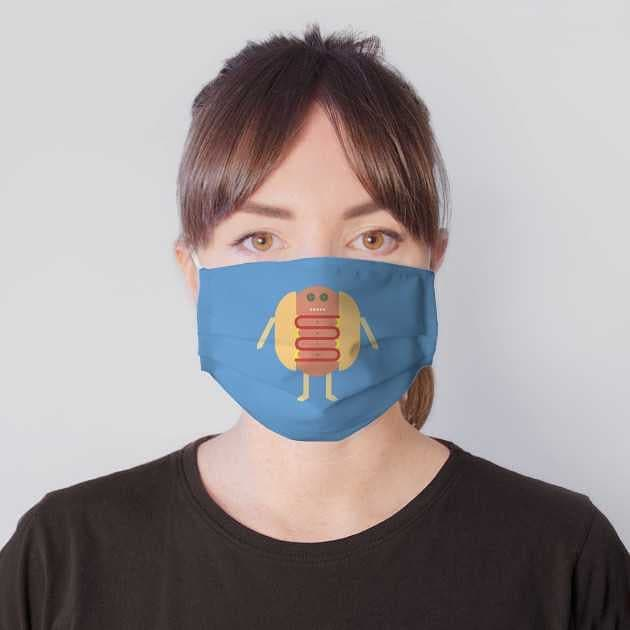 Stubby Lil Weenie Face Mask worn on Teepublic by someartworker