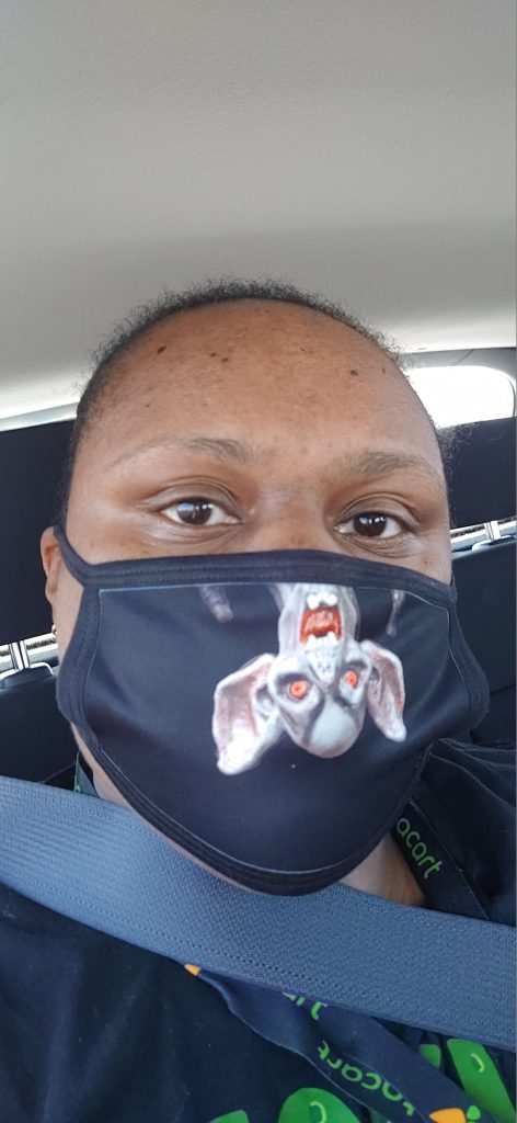 someartworker wearing the I'll be waiting. . . Face Mask by someartworker