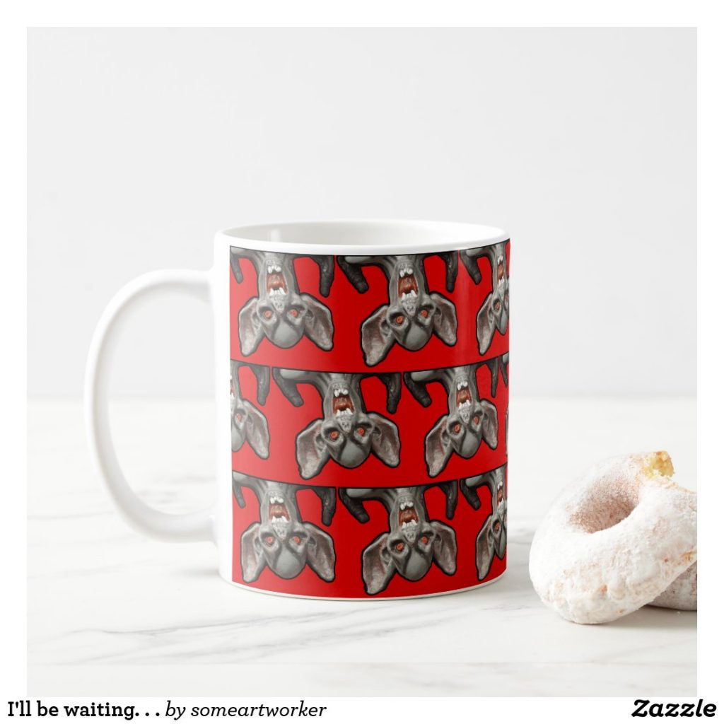 I'll be waiting. . . Mug with doughnut on Zazzle by someartworker